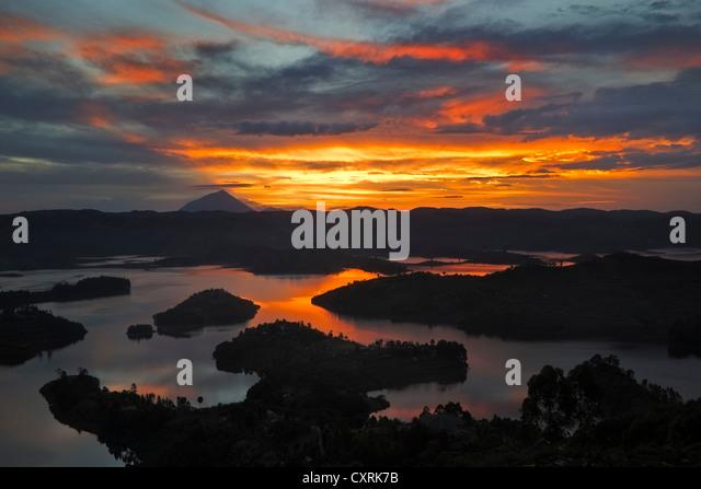 Lake Bunyonyi at sunset, Uganda, Africa - Stock Image