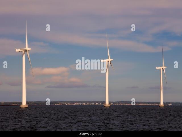 Middelgrunden offshore wind park or farm outside Copenhagen harbour. Owners Dong Energy and Middelgrundens Wind - Stock Image