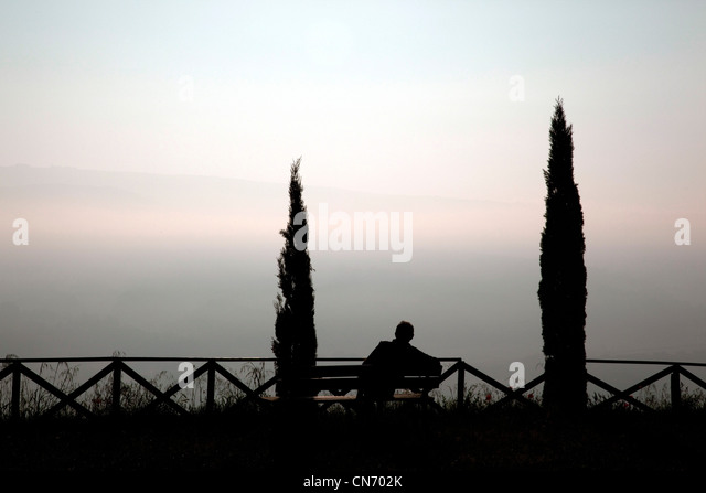 A man watches the sunrise through the fog from the gardens of Saint Patricks Well in Orvieto, Italy - Stock Image