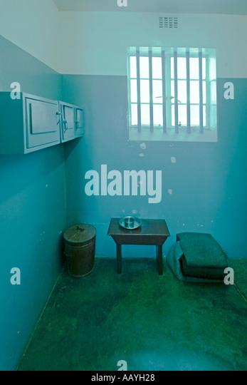 south africa cape town Robben Island prison island of Nelson Mandela during apartheid Nelson Mandelas cell in section - Stock Image