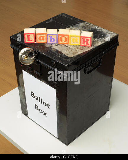UK ballot box and childs' ABC blocks stating 'Labour' in reference to British politics. - Stock Image