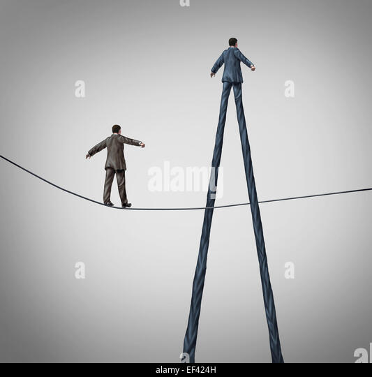 Career advantage business concept as a businessman walking on a high wire tightrope being passed by another better - Stock-Bilder