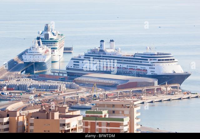 Malaga, Costa del Sol, Spain. Cruise liners in port. - Stock Image