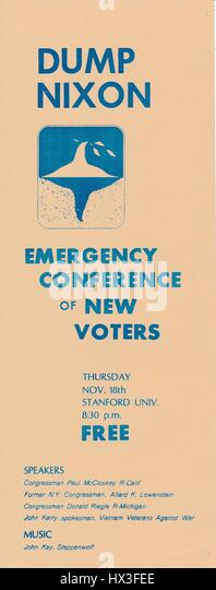 Vietnam War era leaflet from the Emergency Conference of New Voters titled 'Dump Nixon' advocating for American - Stock Image
