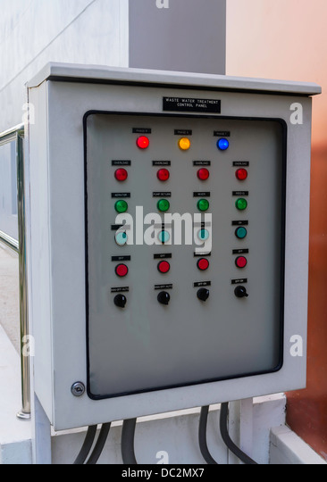 the waste water treatment control panel for industry - Stock Image