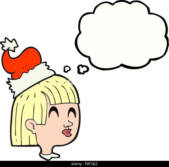 freehand drawn thought bubble cartoon girl wearing christmas hat - Stock-Bilder