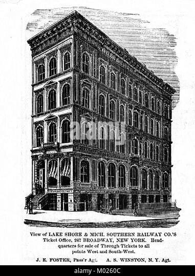 Lake Shore & Michigan Southern Railways USA - Ticket office  New York  1875 - Stock Image