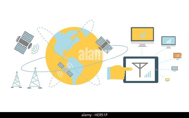 Satellite global network provider icon flat. Internet communication, computer technology, information digital, signal - Stock-Bilder