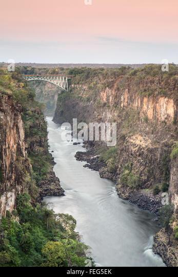 Batoka Gorge and Victoria falls bridge - Stock Image