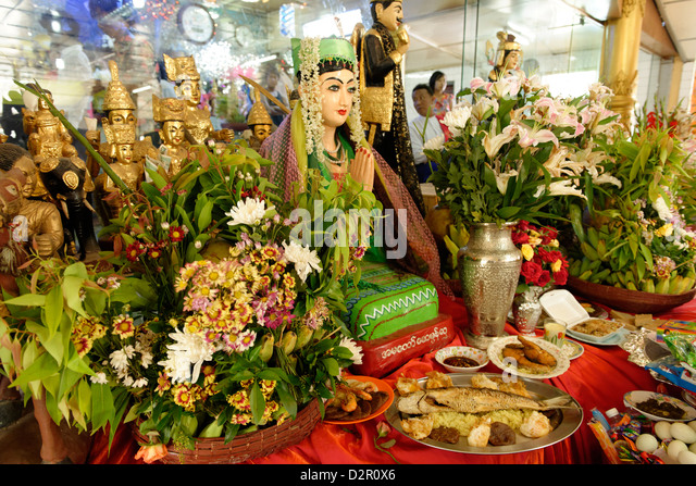 Nats altar during Festival of Ko Myo Shin, Pyin U Lwin (Maymyo), Mandalay Division, Myanmar - Stock Image