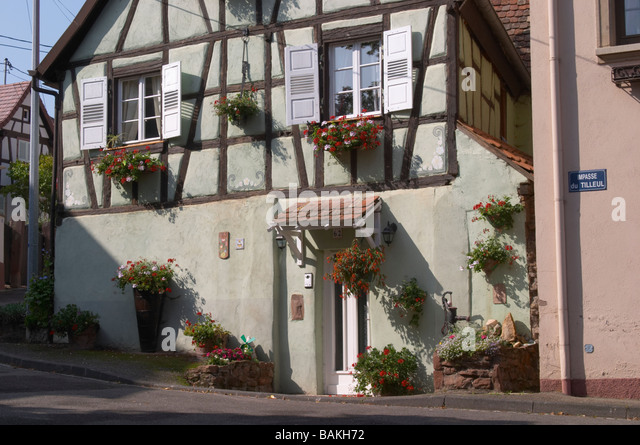 half timbered house dahlenheim alsace france - Stock Image