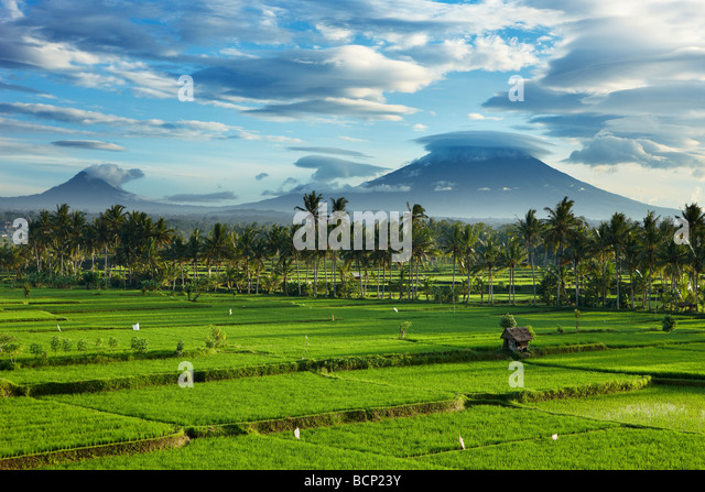 storm clouds clearing over the volcanic peak of Gunnung Anung and the rice fields, near Ubud at dawn, Bali, Indonesia - Stock Image
