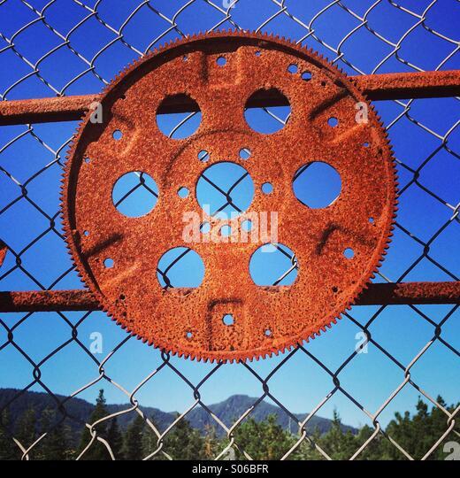 Flex plate, rusting, car repair shop, Oregon - Stock Image