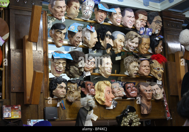 cartoon celebrity mask store Montreal Canada - Stock Image