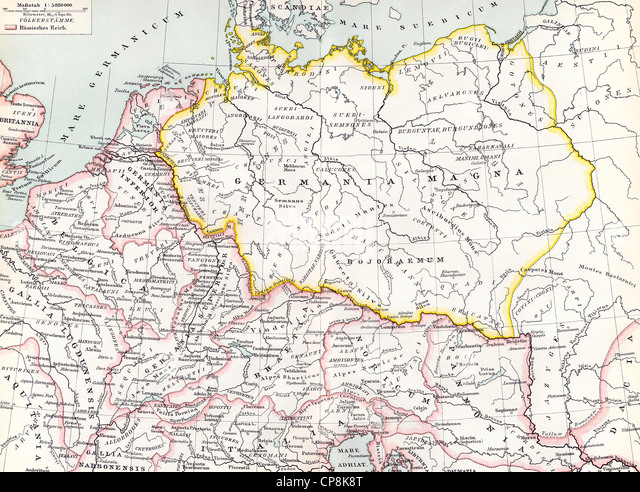Historical map from the 19th Century, depiction of Germania in the 12th Century, - Stock Image