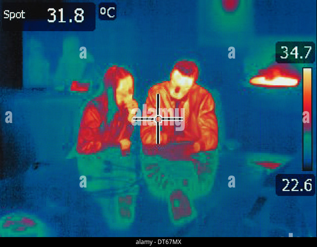 Infrared heat image of office workers in meeting - Stock-Bilder