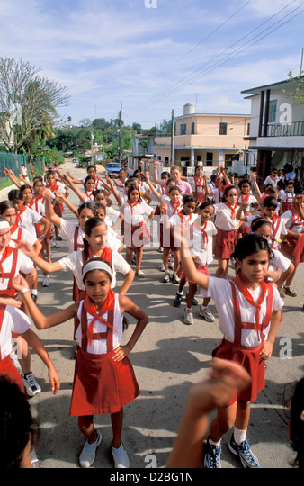 Cuba. Havana. School Children Exercising - Dancing In Street - Stock Image