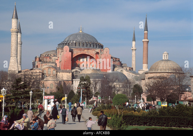 Turkey Istanbul Hagia Sophia Byzantine Church Museum 537 AD central dome is 55.6 meters high - Stock Image