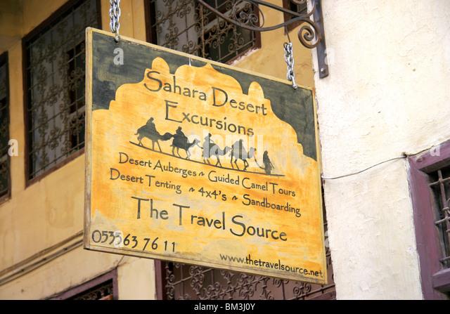 Sahara Desert travel sign, Fez, Morocco - Stock-Bilder