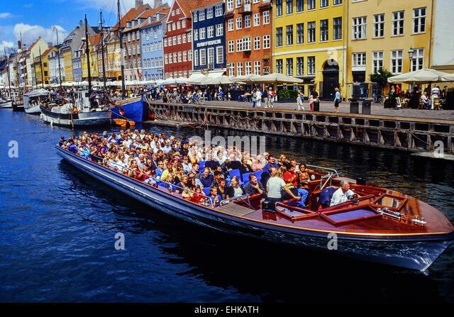 Canal cruise. Nyhavn. Copenhagen. Denmark. - Stock Image