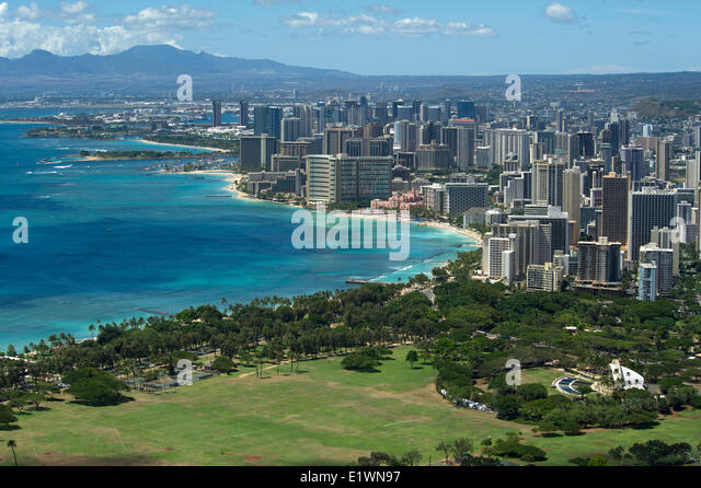View of Waikiki tourist area of Honolulu from Diamond Head mountain - Stock Image