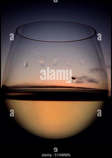 Sunset in a wine glass, Catalonia, Spain. - Stock Image