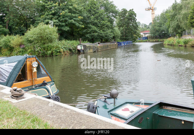 Canal boats in the River Wey near Guildford, Surrey - Stock Image