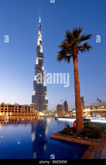 Burj Khalifa, highest Skycraper in the World, 828 meter, Burj Dubai, Dubai United Arab Emirates - Stock Image