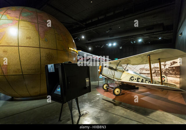 A replica of Bert Hinkler's Avro Baby aircraft in the Hinkler Hall of Aviation.  Bundaberg, Queensland, Australia - Stock Image
