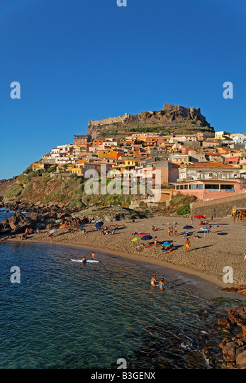 Italy Sardinia Castelsardo beach - Stock Image