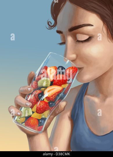 Illustrative image of woman holding a glass filled with fresh fruits representing healthy lifestyle - Stock-Bilder