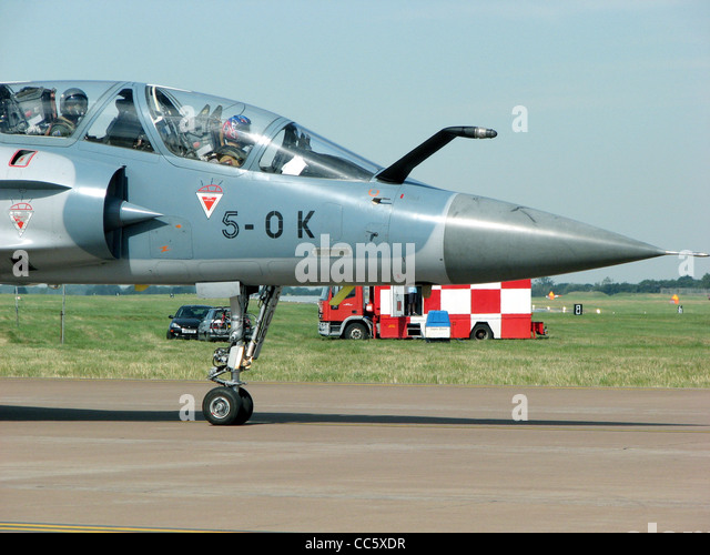 Mirage 2000B (code 5-OK) taxis for takeoff at the Royal International Air Tattoo, Fairford, Gloucestershire, England. - Stock Image