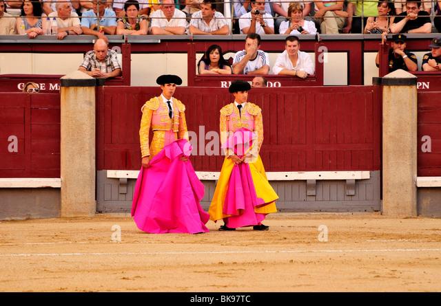 Bullfighters holding their capes, capote, in Las Ventas Bullring, Madrid, Spain, Iberian Peninsula, Europe - Stock-Bilder