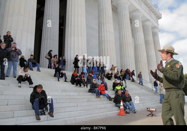 Washington DC West Potomac Park National Mall and Memorial Parks Lincoln Memorial 1922 Greek Revival architecture - Stock Image