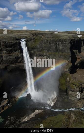 Haifoss, waterfall, raibow, canyon, lava - Stock-Bilder