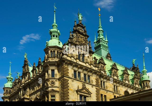 Ornate neo-renaissance architecture of the Hamburg Rathaus (City Hall), opened 1886, Hamburg, Germany, Europe - Stock-Bilder