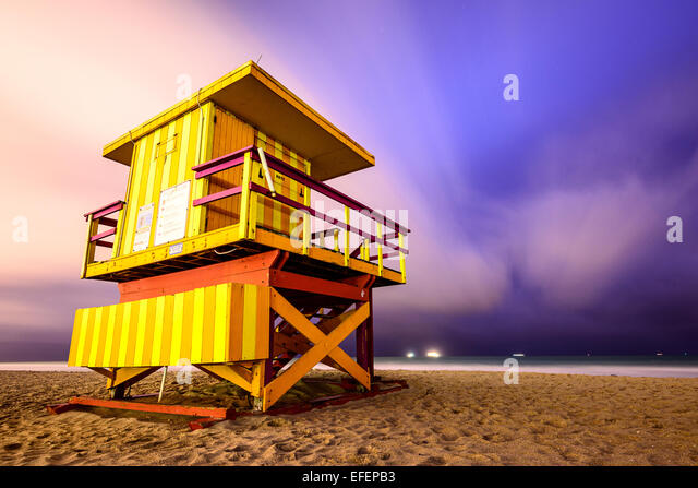 Lifeguard tower on Miami Beach. - Stock Image