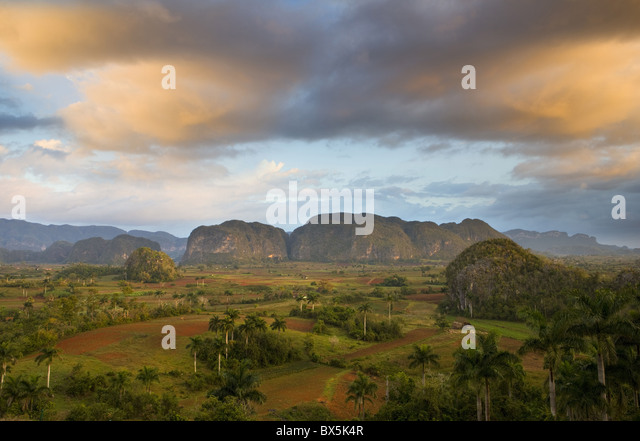 View of Vinales Valley at dawn from grounds of Hotel Los Jasmines, Pinar Del Rio, Cuba - Stock Image