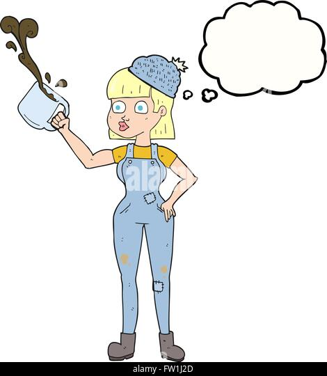freehand drawn thought bubble cartoon female worker with coffee mug - Stock-Bilder