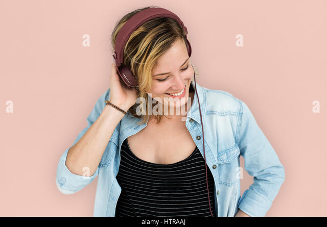 Caucasian Lady Embarassed Studio Concept - Stock Image