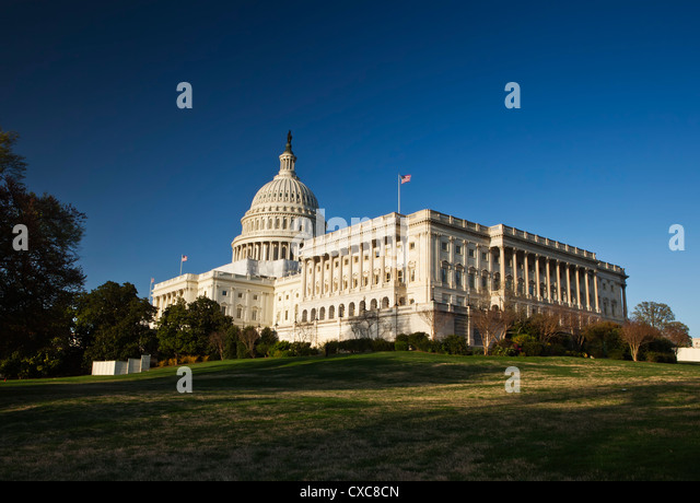 The United States Capitol Complex and the Capitol Building showing current renovation work on the dome, Washington - Stock Image