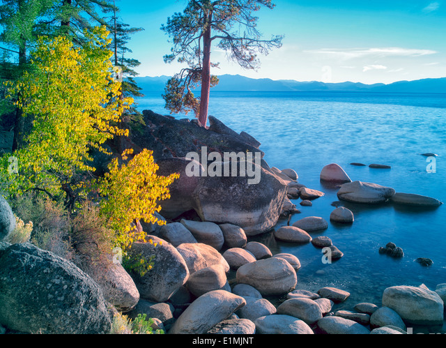 Boulder rocks and fall color on shoreline of Lake Tahoe, Nevada - Stock Image