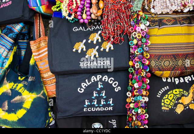 Galapagos Islands shopping souvenirs at Baltra airport - Stock Image