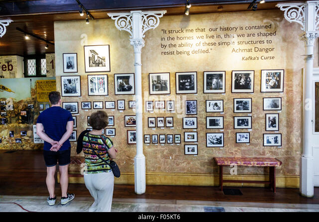 South Africa African Cape Town City Centre center District Six Museum apartheid inside exhibit exhibits man woman - Stock Image