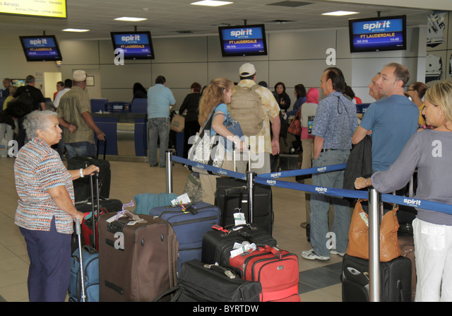 Panama City Panama Aeropuerto Tocumen airport PTY aviation terminal Spirit Airlines international flight carrier - Stock Image