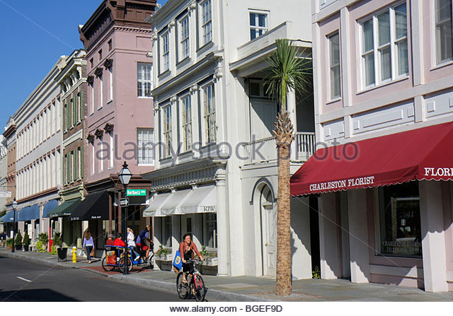 South Carolina Charleston National Historic Landmark Historic District preservation King Street Antique District - Stock Image