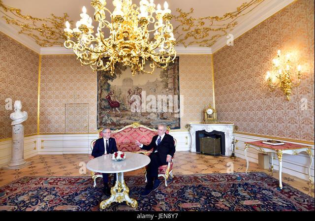 Czech President Milos Zeman (right) speaks with Austrian President Alexander Van der Bellen during his official - Stock-Bilder