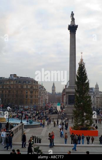 Trafalgar Square Christmas time Big Ben in background London England - Stock Image