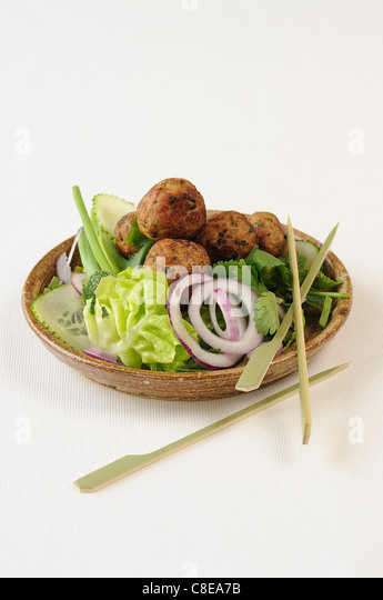 Tuna balls with curry and ginger - Stock Image