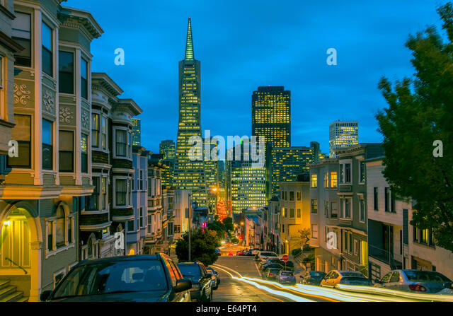 Night view of downtown skyline from North Beach district, San Francisco, California, USA - Stock Image